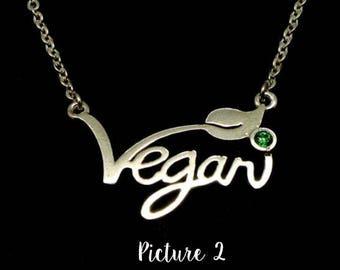 Vegan Necklace, Vegan Charm Pendant, Vegan Symbol Necklace, Vegan Bracelet Connector, Vegan Jewelry Supplies, Vegan Connector (3-54)