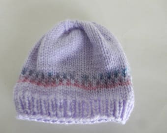 Knitted lavendar baby hat