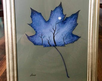 """Prussion Blue Moonscape on Maple 12""""X10"""""""