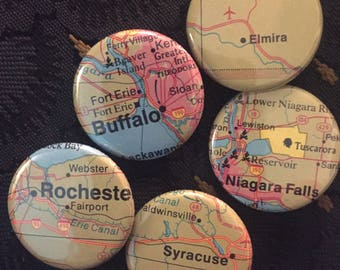 New York State Travel Button Set