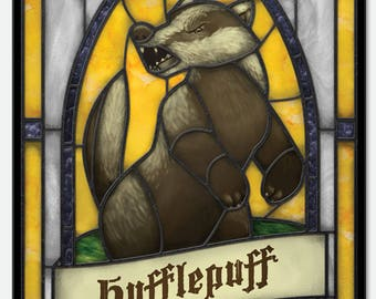 Harry Potter / Hogwarts: Hufflepuff - Stained Glass window cling