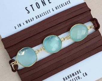 Chalcedony and Gemstone Wrap Bracelet/Necklace