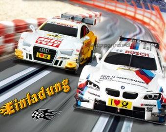 8 Invitation Cards Birthday Children birthday invitations Cars racetrack