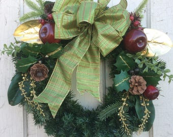 Apple and Pinecone Christmas Wreath