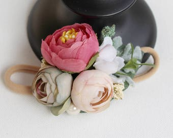 Mini Flower Crown in Mauve and Dusty Ivory   Valentine's Day Flower Headband