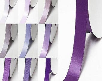 "Purple 462-477 double faced satin ribbon By the 5 or 100 Yards Top Quality Silky Ribbon 3/8"",2/1"",7/8"",1"",1.5"",2"",2.5"",3"" YAMA 28800"