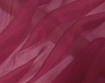 Super soft Pure Mulberry Silk Solid Color Rosewood Red pure silk chiffon fabric material sheer # hac 42,