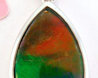 fine Pear  Shape Ammolite Pendant set in Sterling Silver.