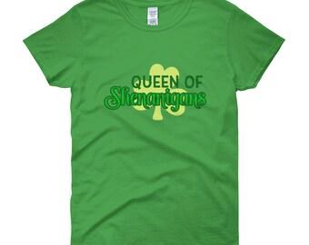 Queen of Shenanigans Women's Saint Patricks Day Clover short sleeve t-shirt