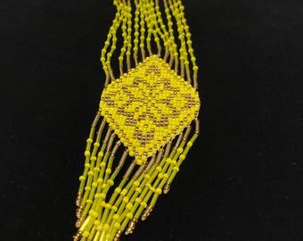 Traditional Ukrainian gerdan necklace, long necklace, beaded necklace, beaded jewelry, handmade jewelry, yellow gerdan, yellow necklace