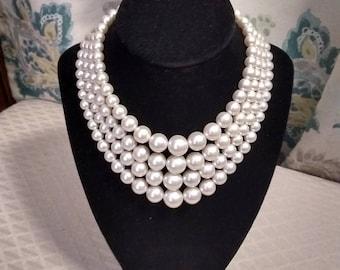 Gorgeous Vintage 4 Strand Faux Pearl Necklace