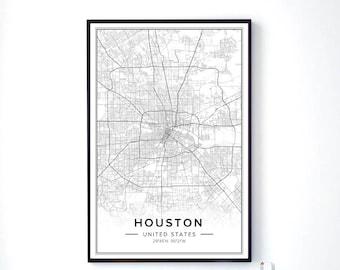 Houston Map, Houston Wall Art, Houston City Map, Houston Print, Houston Poster, Map Of Houston, Map Wall Art, Maps Poster, City Map Art, Pdf
