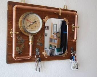 Steampunk wall key holder and mirror