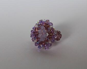 Handmade beaded ring in purple