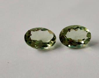 Top Quality of loose Gemstones Brazilian Natural Green Amethyst Quartz Oval Shape 10.5.Carat 10-14-5-MM 2 Pieces