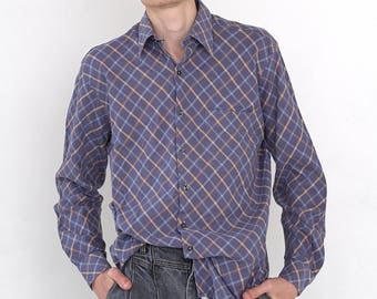 VINTAGE Purple Checked Long Sleeve Button Down Retro Shirt
