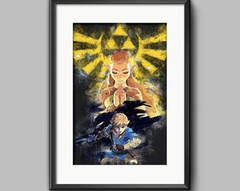 Legend of Zelda - Poster - art - Breath of the wild - Link - Zelda - Triforce - Video games - Nintendo art