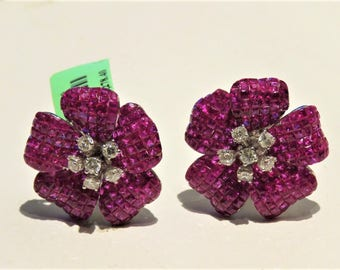 Liquidation Clearance!! 21,278 Rare Magnificent 18KT Gold Large Cleef Style Ruby and White Diamond Glittering Earrings