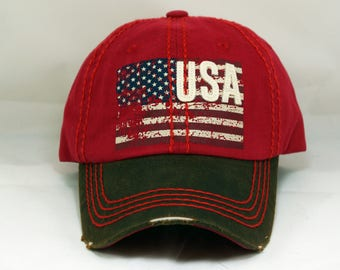 American flag hat, Usa hat, distressed hat , vintage hat, embroidered hat