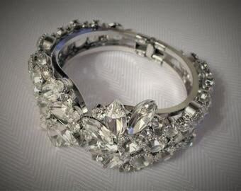 A Rare Find! Clear Rhinestone Clamper Bracelet by Juliana / D & E