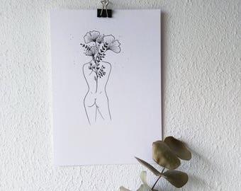 M Y M I N D - original illustration/ wall art/ tattoo template