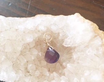 Purple Amethyst, 18mm dangle,gold fill, Xmas gift,amethyst dangle,affordable jewelry, gold fill,purple dangle for necklace,faceted amethyst