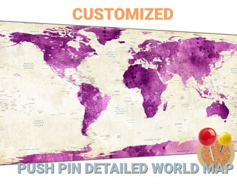 violet world map canvas wall art violet world map push pin map violet world map travel map world map wall decor large world map