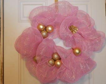 Pink Deco Mesh Wreath