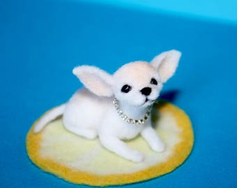 Needle felted/ miniature/ wool sculpture/  chihuahua/ puppy / dog/ handmade gift