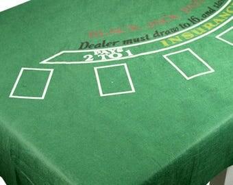Casino Blackjack Tablecover - Poker night - casino night party - felt table cloth