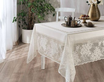 White Rose Pattern Fabric Tablecloth, Rectangular Table Cloth,table Linen