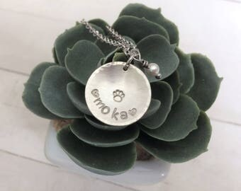 Hand Stamped Pet Name Necklace