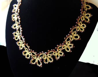 Gold necklace lace