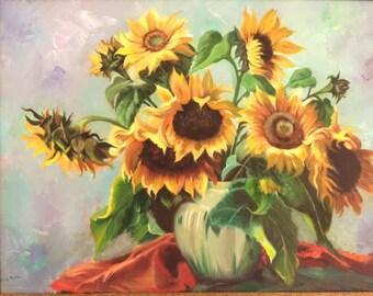 Sun Flowers In Vase