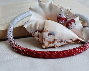 Necklace from beads, Beaded harness, Red necklace of beads, Silver necklace of beads, Earrings from beads, knitted set of beads