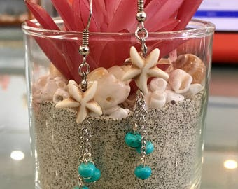howlite starfish earrings