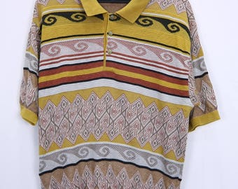 Vintage Modigliani Collar T Shirt Polo Short Sleeve Button Up Size Large