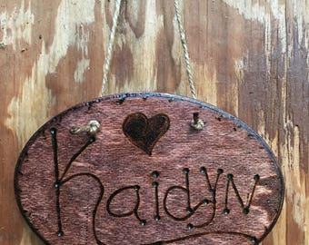 Personalized Wood Burned Name Plaques