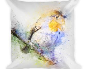 Robin Bird Art, Best Pillow Gifts, 18x18 Throw Pillow with Bird, Bird Gift, Bird Cushion, Animal Gifts For Her