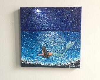 handmade acrylic painting on stretched 10x10 inch canvas art ocean mermaid sea siren in moonlight