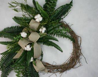 Cotton and fern farm house wreath