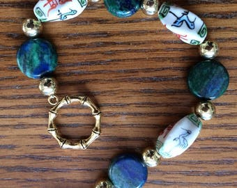 Azurite and porcelain beaded bracelet
