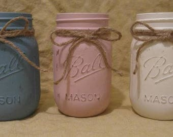 Pastel Mason Jar Collection with Jute Cord Ties (3 Pack)