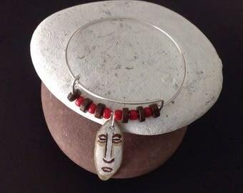African Mask Bracelet, Primitive Art Bangle, Tribal Art Jewelry, Wearable Art Bangle, Primitive Design, Unique Beaded Bangle, Unique Gift