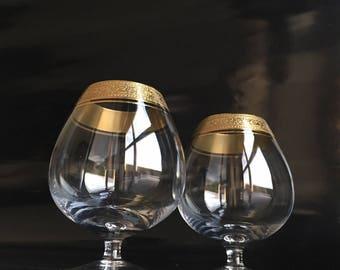set of 2, Crystal Cognac Glasses with Gold Rim,  Mintonborde, Mid Century Barware, Bar Cart
