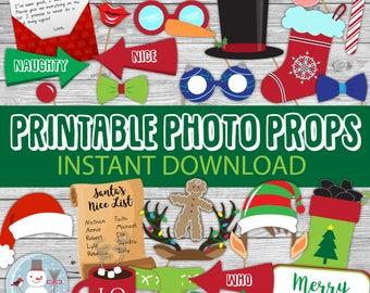 Christmas photo booth props, Christmas decor, Holiday decor, Christmas photobooth, Christmas printable, party bundle shop