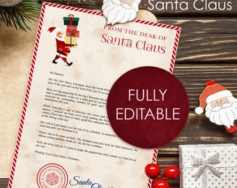Editable Letter from Santa Claus Printable Letter A4 Instant Download JPG and Fully Editable Word file Christmas letter from the North Pole