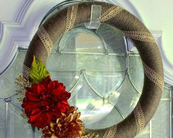 Brown Yarn Wreath