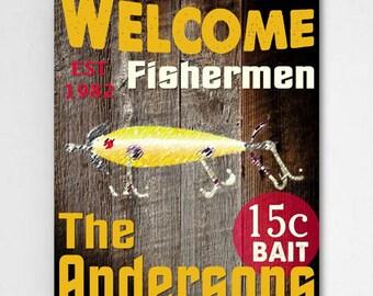 Personalized Fishermen Canvas Sign - Fishermen Canvas Print - Personalized Outdoor Sports Print - Canvas Print - Fishing Wall Decor -