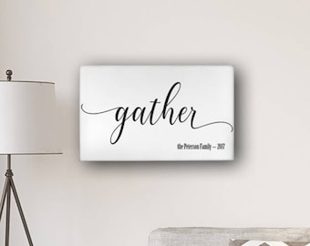 "Personalized Gather Modern Farmhouse 14"" x 24"" Canvas Sign - Personalized Print - Framed Art - Wall Art Decor - Farmhouse Print"